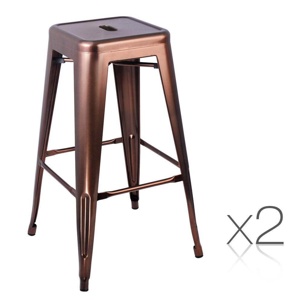 2PCE Artiss Metal Backless Bar Stools 76cm - Bronze