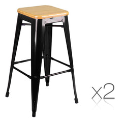2PCE Steel Kitchen Bar Stools Bamboo Seat - Black - ICE Group