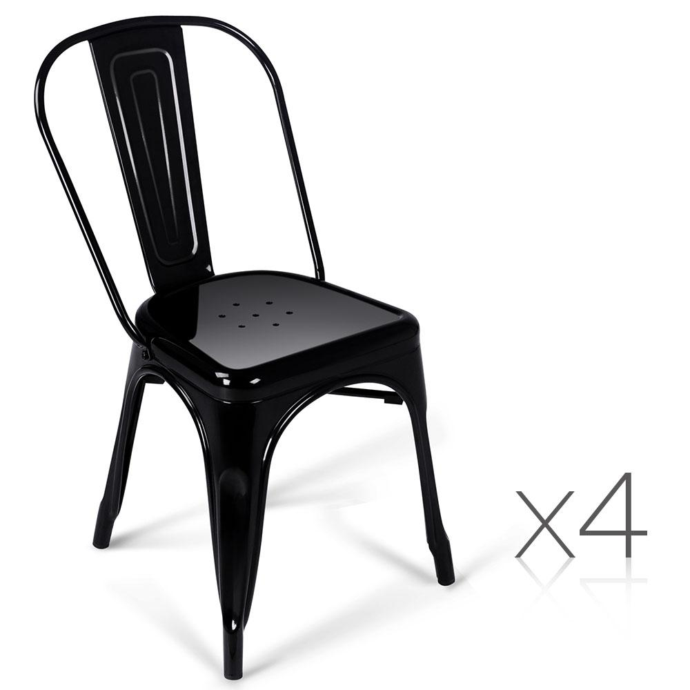 4 PCE Artiss Dining Metal Chair Gloss Black