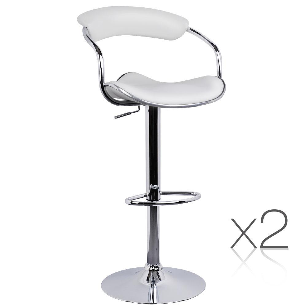 2PCE PU Leather Kitchen Bar Stool White