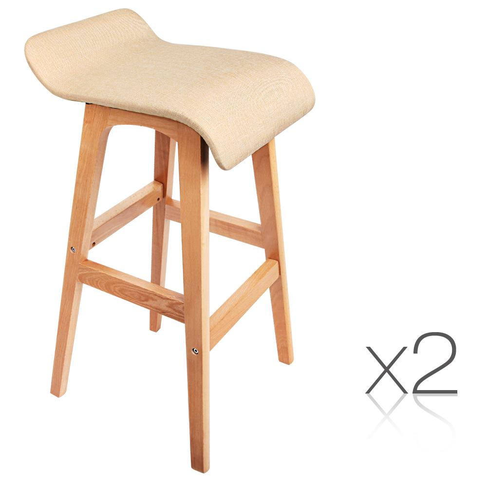 Artiss 2PCE Wooden Backless Bar Stools Beige