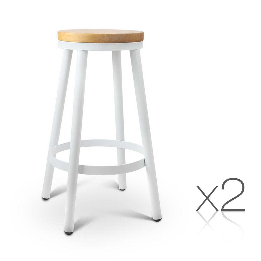 2PCE Artiss Round White Stackable Bar Stools