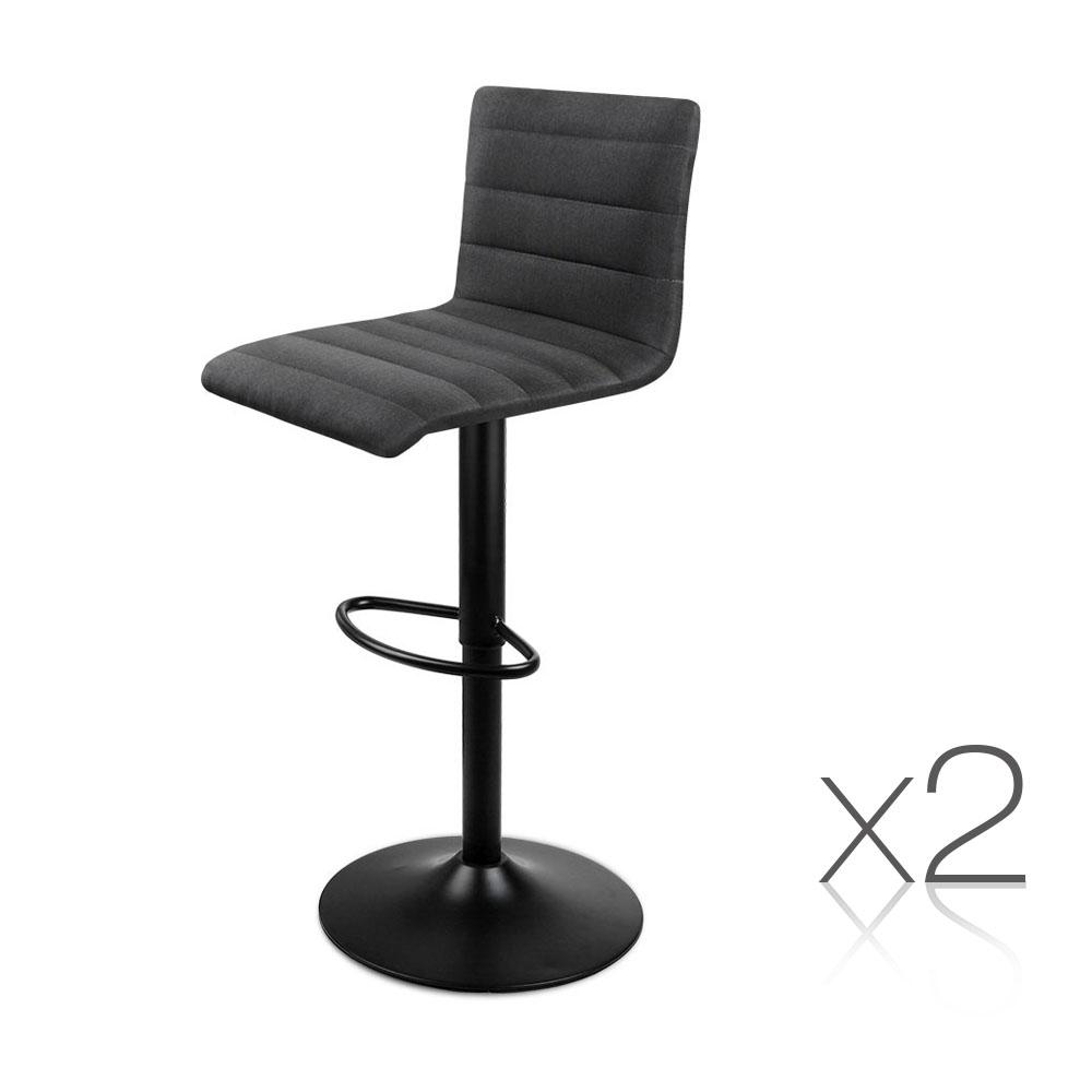 2PCE Fabric Kitchen Bar Stool Black