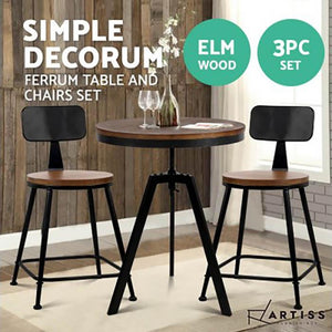 3PCE Artiss Table and Stools Set Vintage Retro Elm Wood Metal Brown