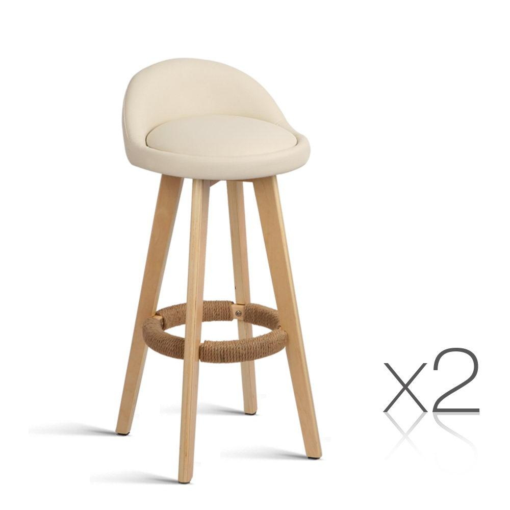 2PCE Artiss Leather Bar Stools Beige - ICE Group