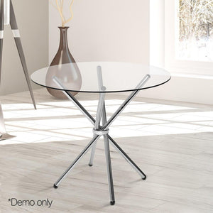 Artiss Round Dining Table with Tempered Glass Silver