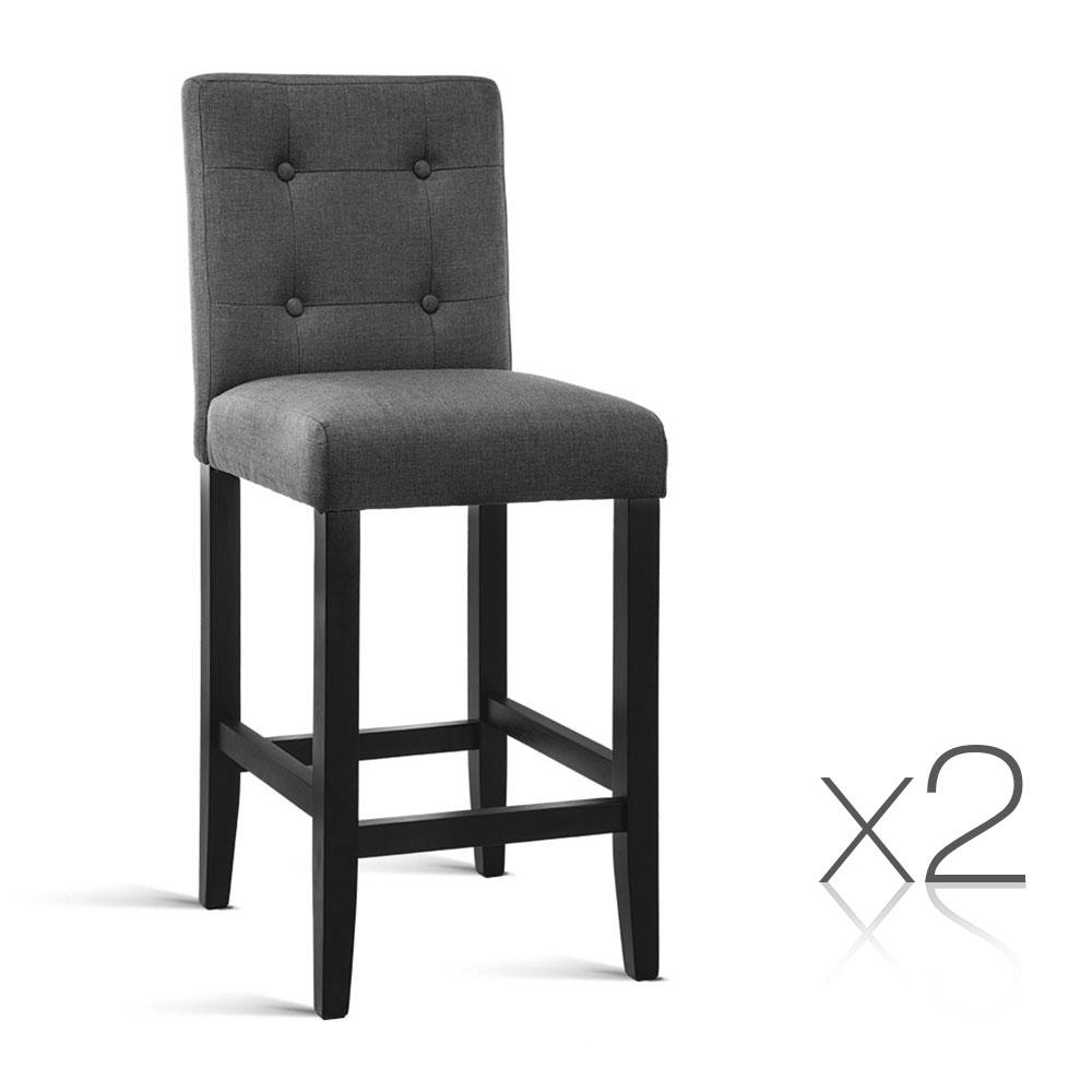 Artiss 2PCE French Provincial Dining Chair Charcoal