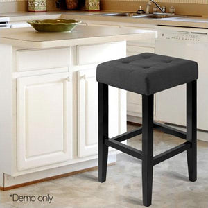 Artiss 2PCE Wooden Fabric Barstools - Charcoal