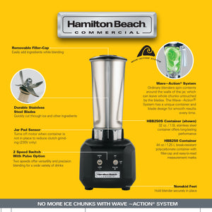 Hamilton Beach Rio Bar Blender BBN1250S Stainless Steel Jug