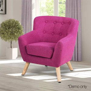 Artiss Kids Pink Fabric Accent Armchair