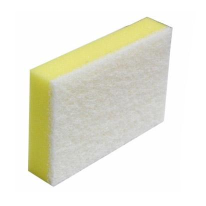 10PCE White & Yellow Soft Sponge Scourer NBSSW