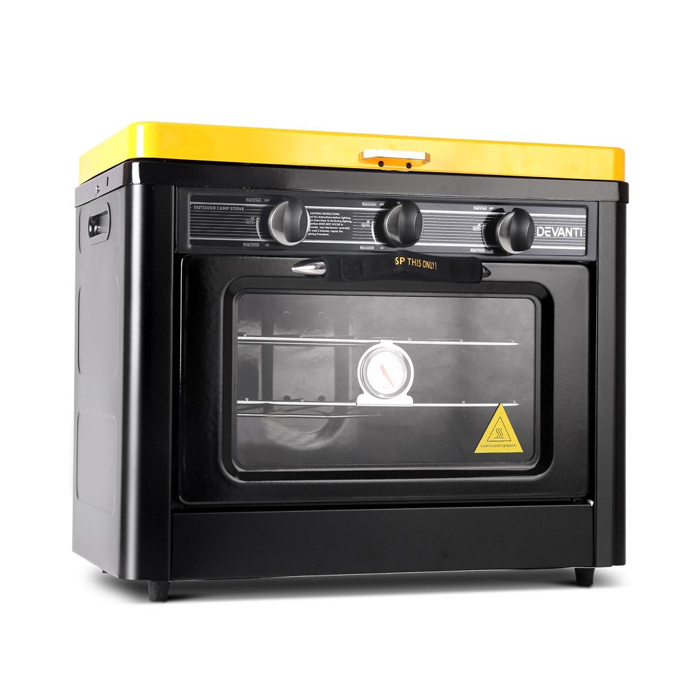 Devanti 3 Burner Portable Gas Oven and Stove Black and Yellow
