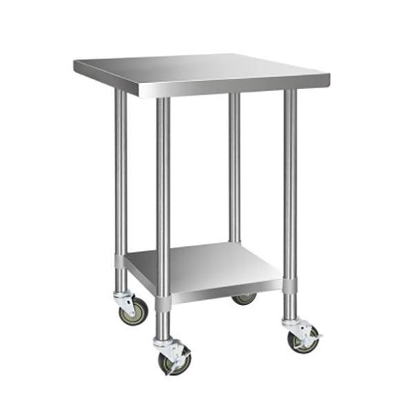 Cefito Stainless Steel Kitchen Work Bench Food Prep Table with Wheels 610MM x 610MM
