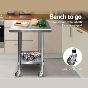 Cefito 762 x 762mm Stainless Steel Bench with Castors