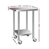 Cefito 610mm x 610mm Stainless Steel Bench with Castors
