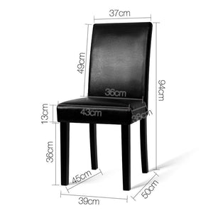 2PCE Artiss PU Leather Dining Chairs Black