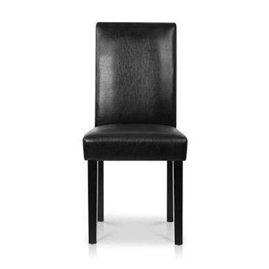 2PCE Bolero Faux Leather Dining Chairs Black