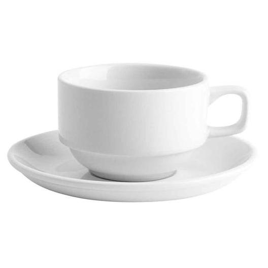 48PCE Bistro Stackable Tea Cup 230ml 90mm x 60mm