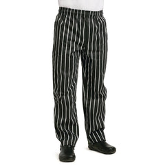 Whites Easy Fit Butchers Stripe Pants Black M - icegroup hospitality superstore