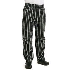 Whites Easy Fit Butchers Stripe Pants Black L - icegroup hospitality superstore