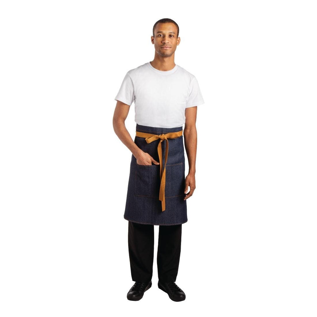 Whites Bistro Apron Blue Denim - 1000 x 900mm