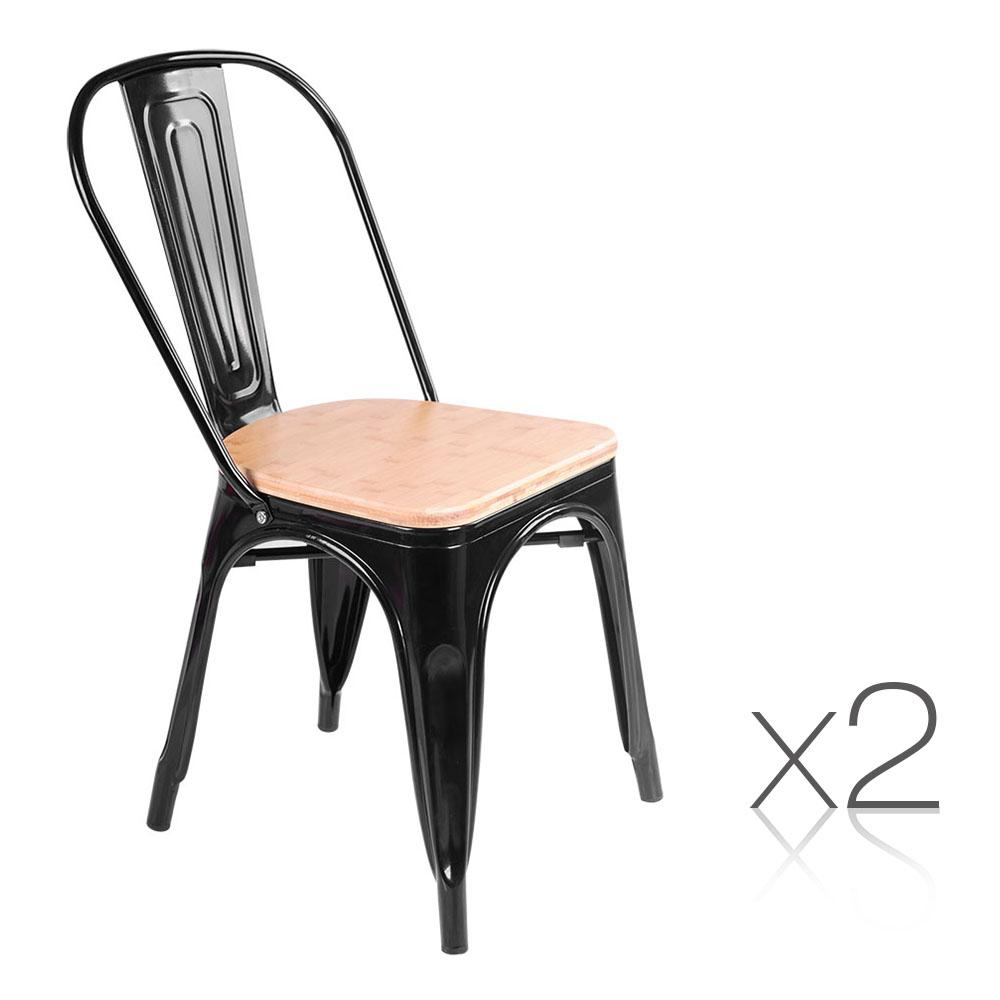Set of 2 Replica Tolix Dining Metal Chair Bamboo Seat Gloss Black