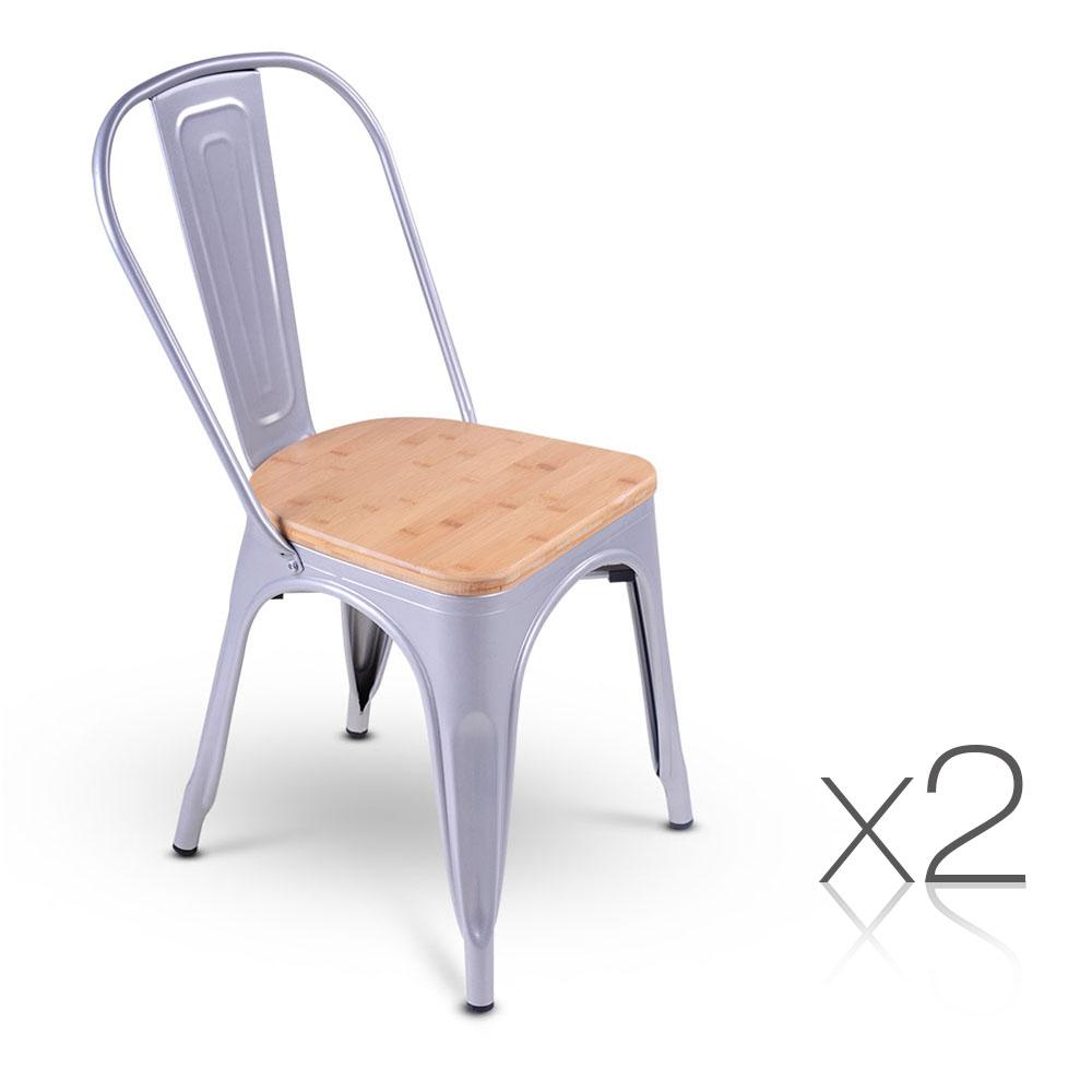 Set of 2 Replica Tolix Dining Metal Chair Bamboo Seat Gloss Metal