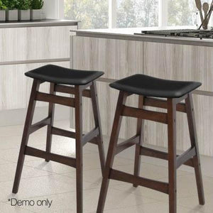 2PCE Artiss Wooden and Padded Bar Stools - ICE Group