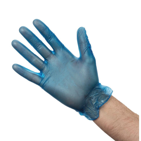 100PCE Blue Vinyl Gloves Medium