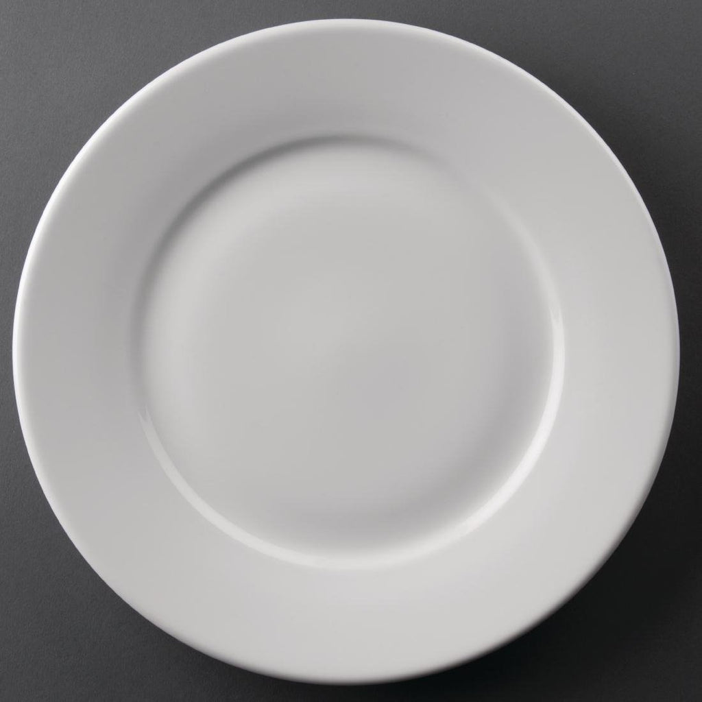 12PCE Athena Hotelware Wide Rimmed Plates 254mm