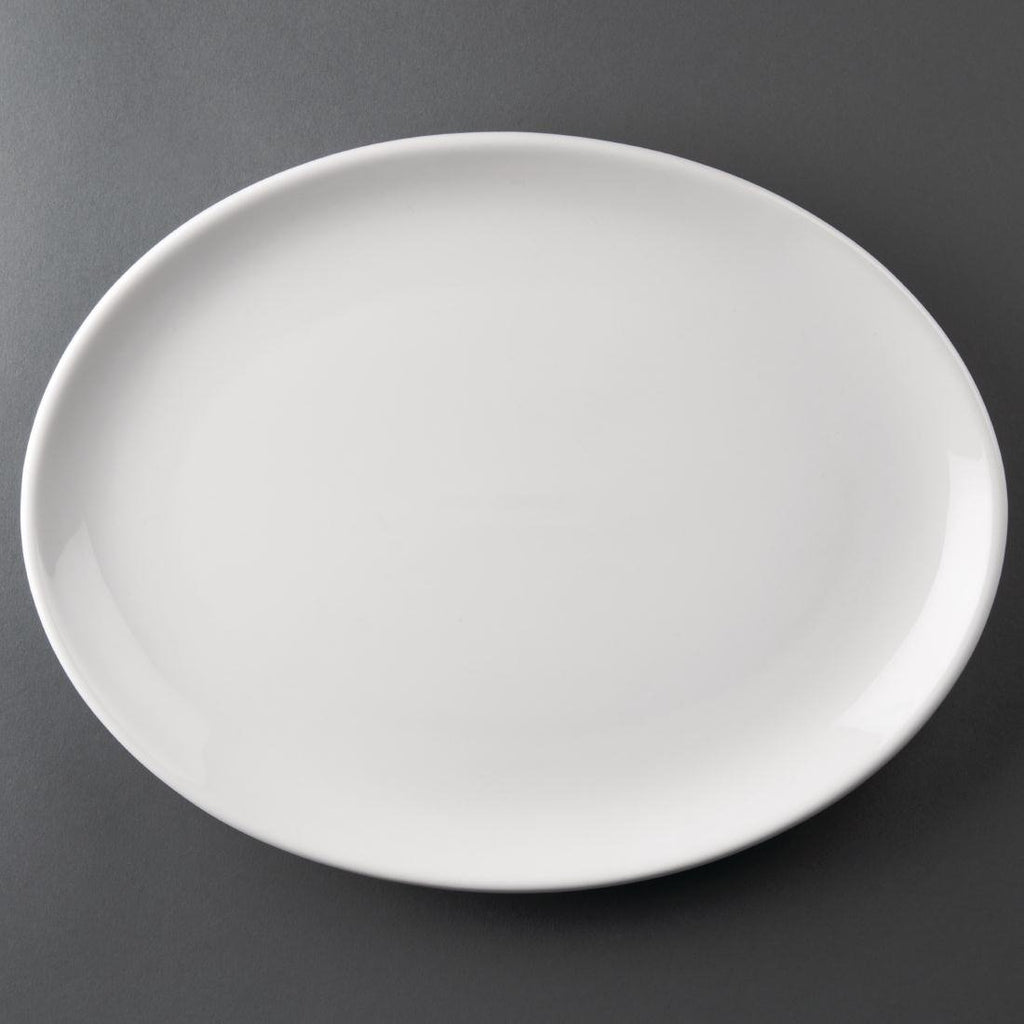 6PCE Athena Hotelware Oval Coupe Plates 305x 242mm