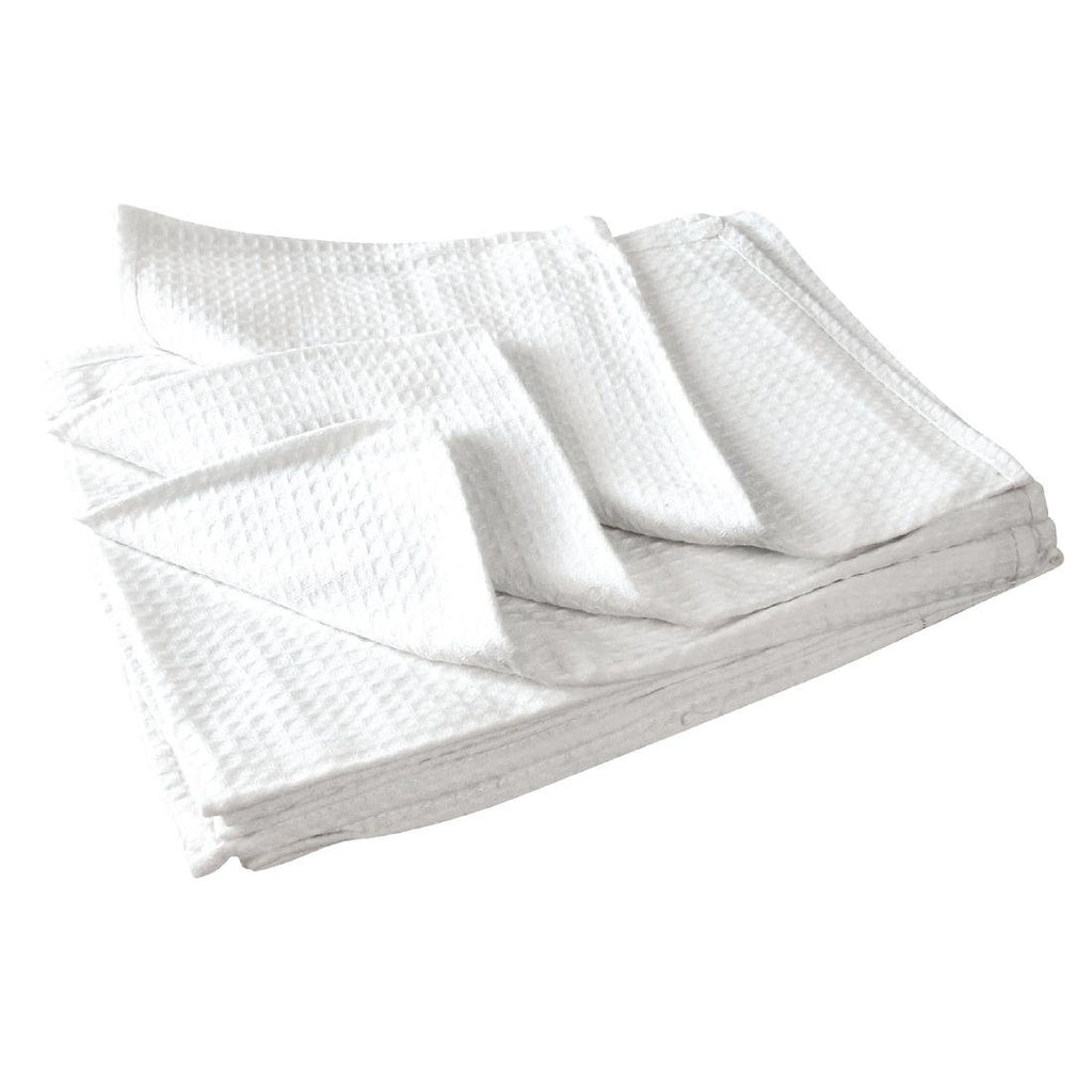 10PCE Vogue Cloths White Honeycomb Weave