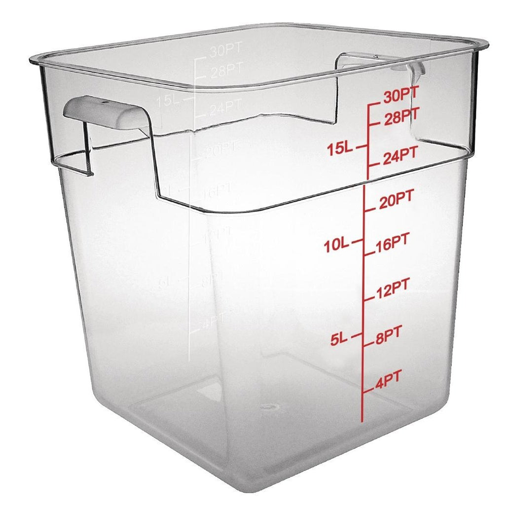 Vogue Polycarbonate Square Storage Container 15Ltr - ICE Group
