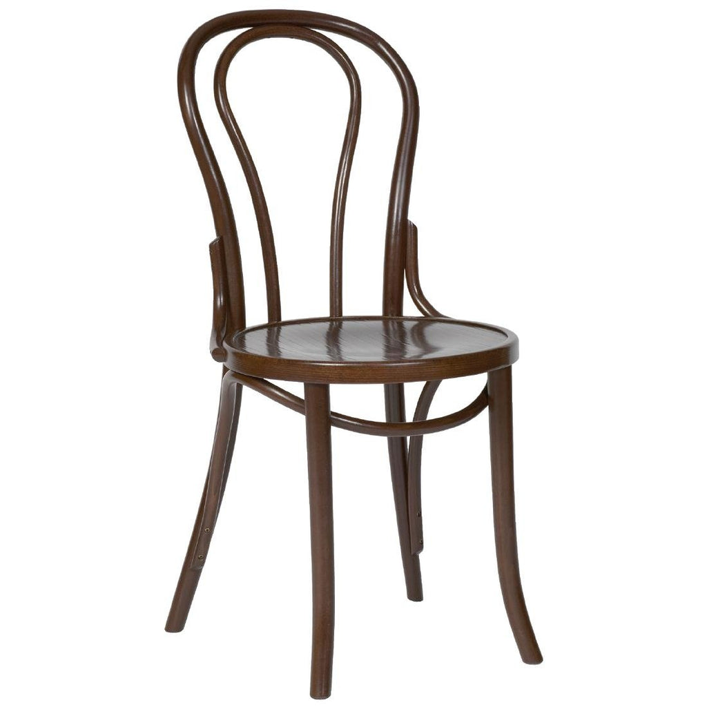 2PCE Fameg Bentwood Bistro Sidechair Walnut Finish