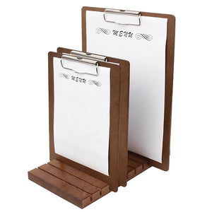 Olympia Wooden Stand for Menu Presentation Clipboards