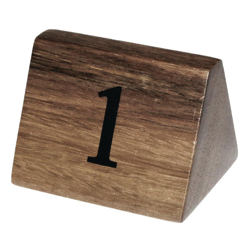 10PCE Olympia Acacia Table Number Signs Numbers 1-10