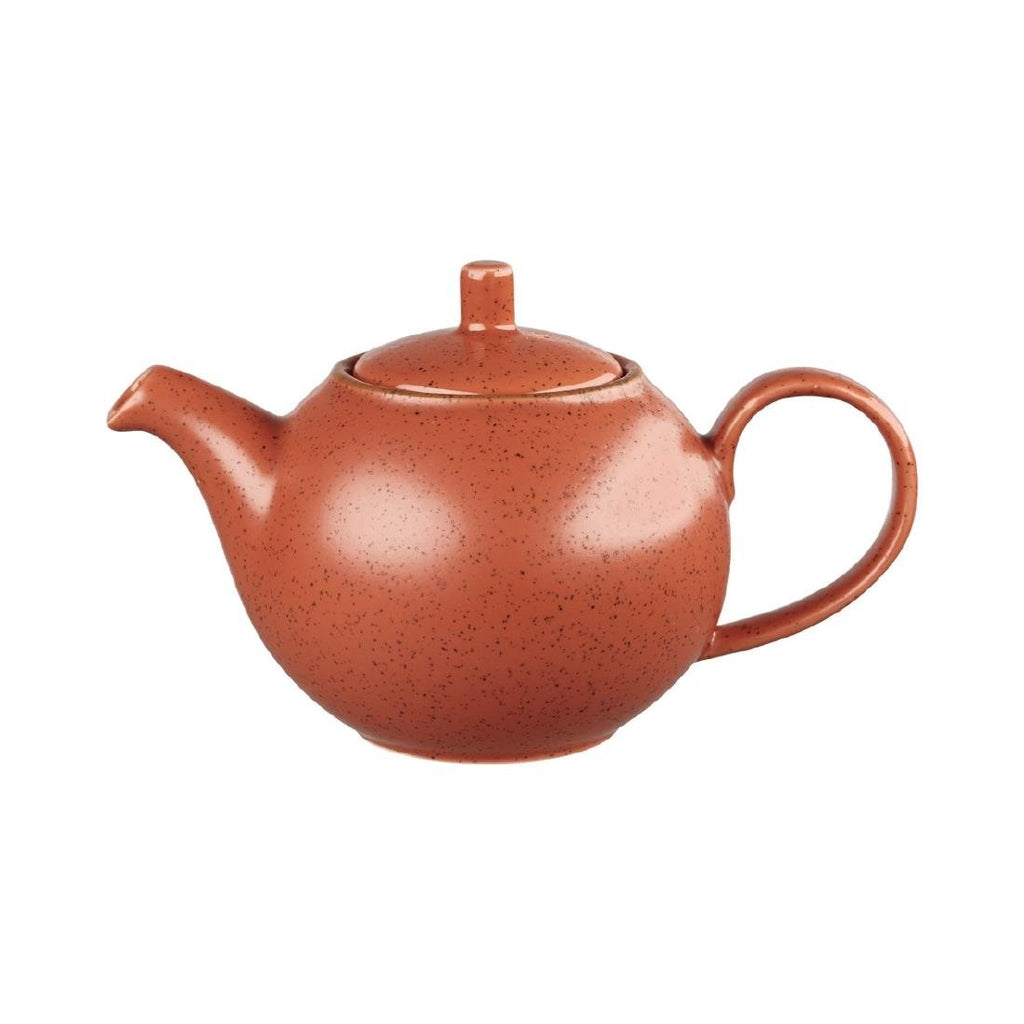 4PCE Stonecast Teapot Orange 426ml