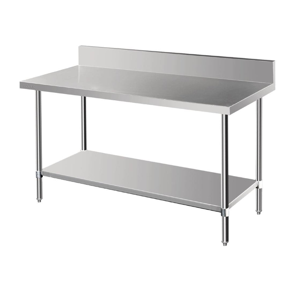 Vogue 1500mm Premium Stainless Steel Table with Splashback