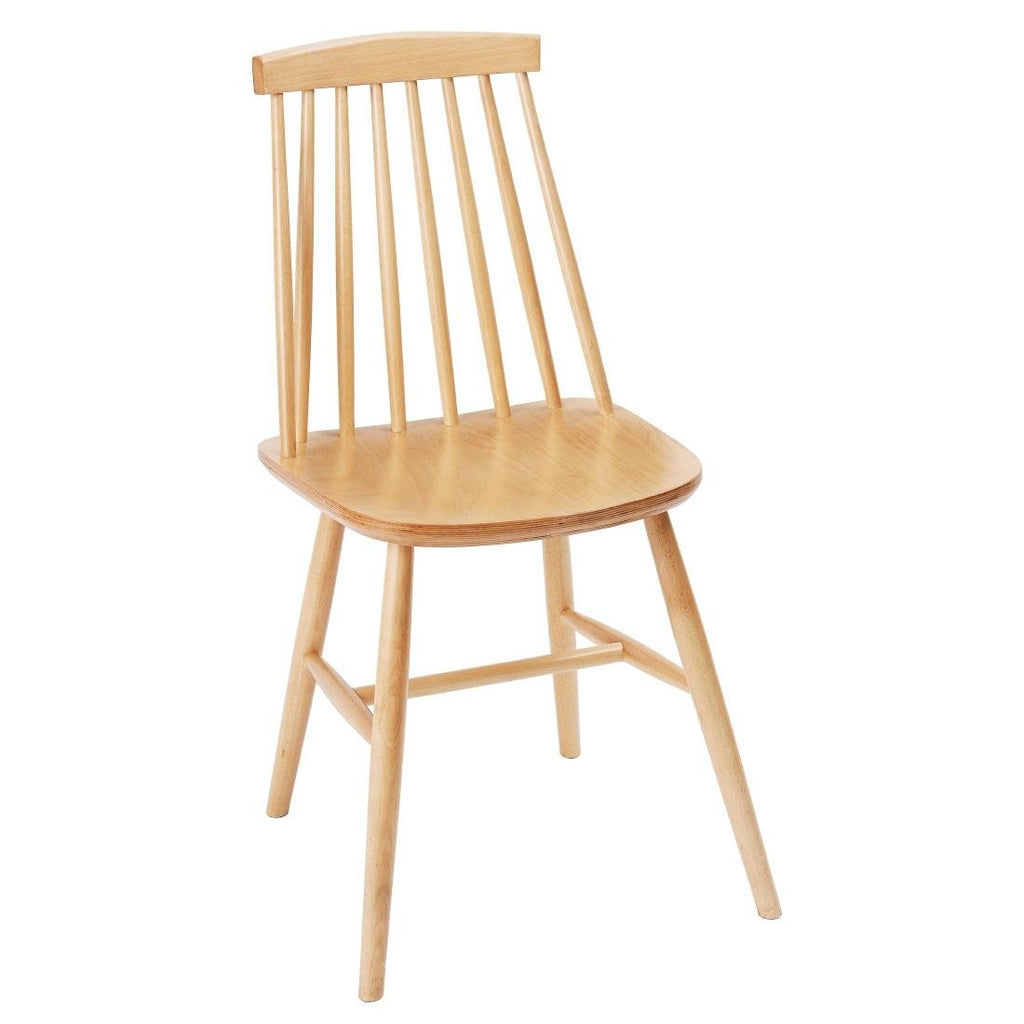 2PCE Fameg Farmhouse Angled Sidechair Natural Beech