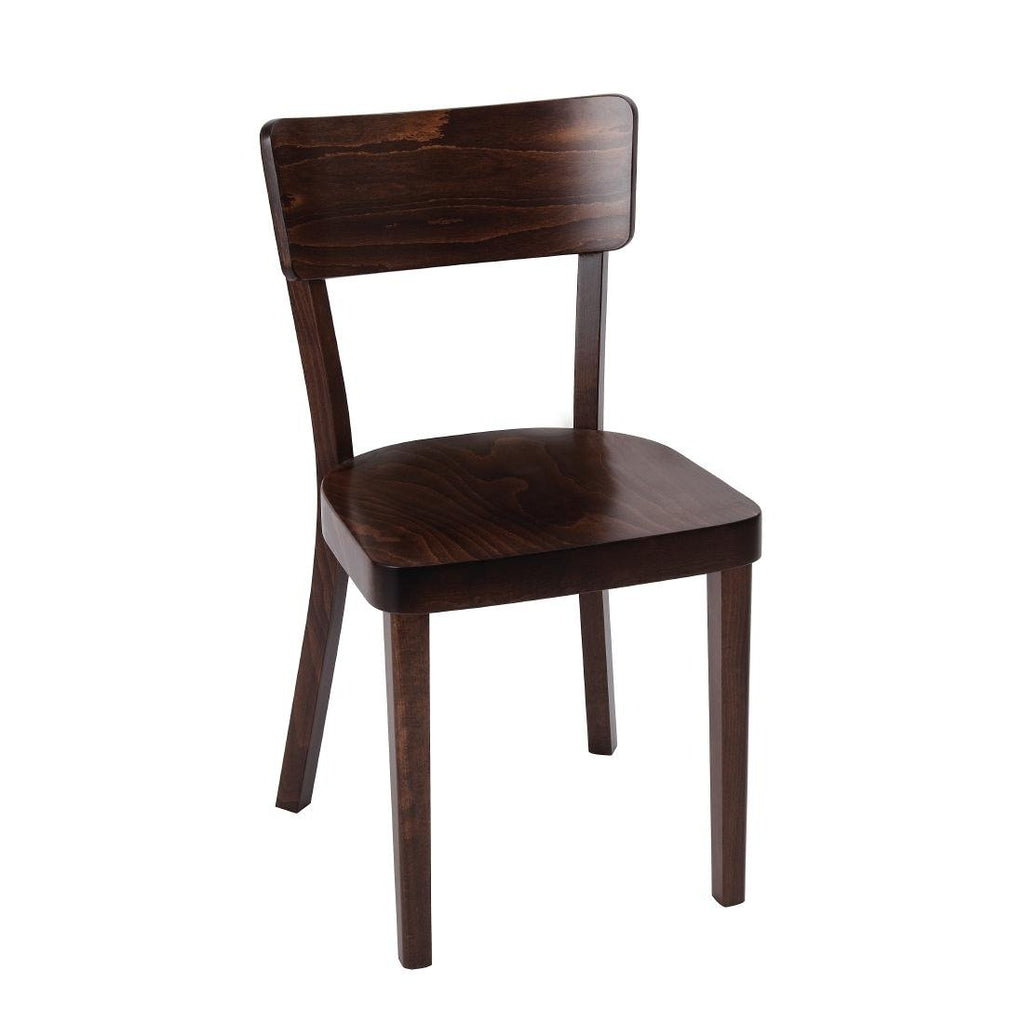 2PCE Fameg Plain Sidechair Walnut Finish