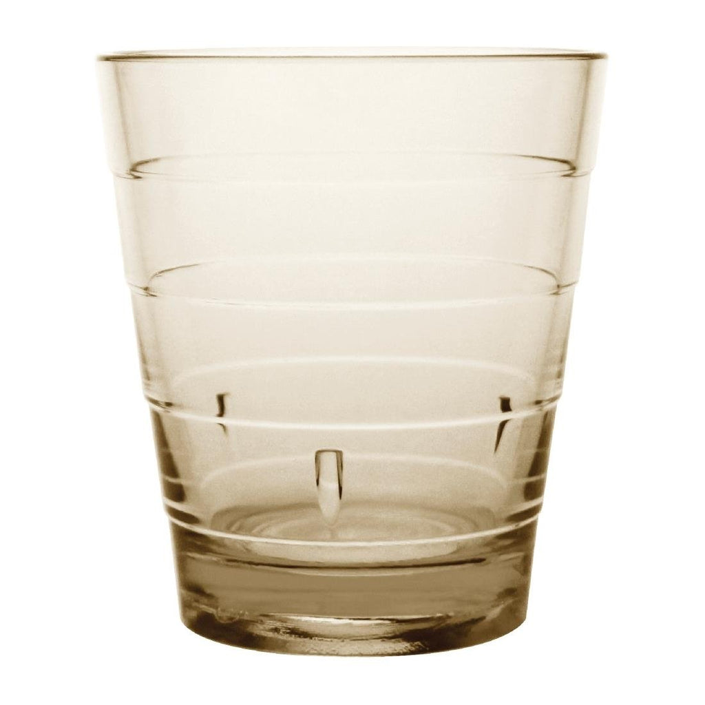 6PCE Kristallon Polycarbonate Ringed Tumbler Tan 285ml
