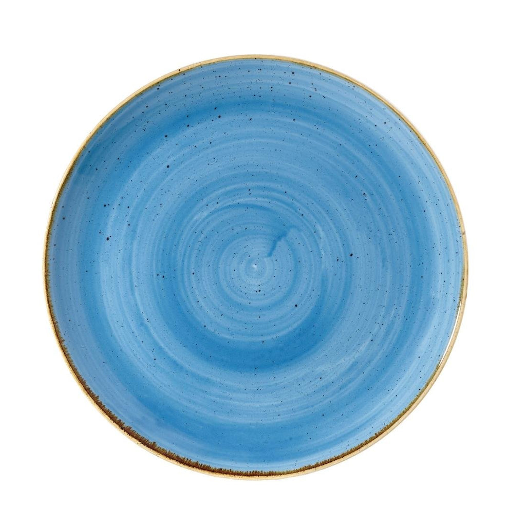 12PCE Churchill Stonecast Round Coupe Plate Cornflower Blue 260mm