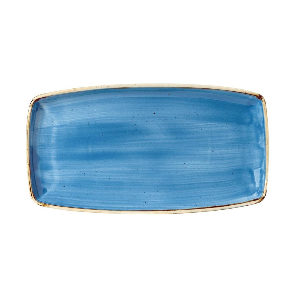 6PCE Churchill Stonecast Rectangular Plate Cornflower Blue 350 x 185mm