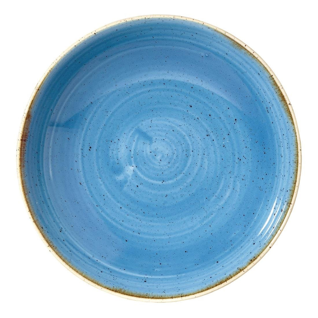12PCE Churchill Stonecast Round Coupe Bowl Cornflower Blue 184mm