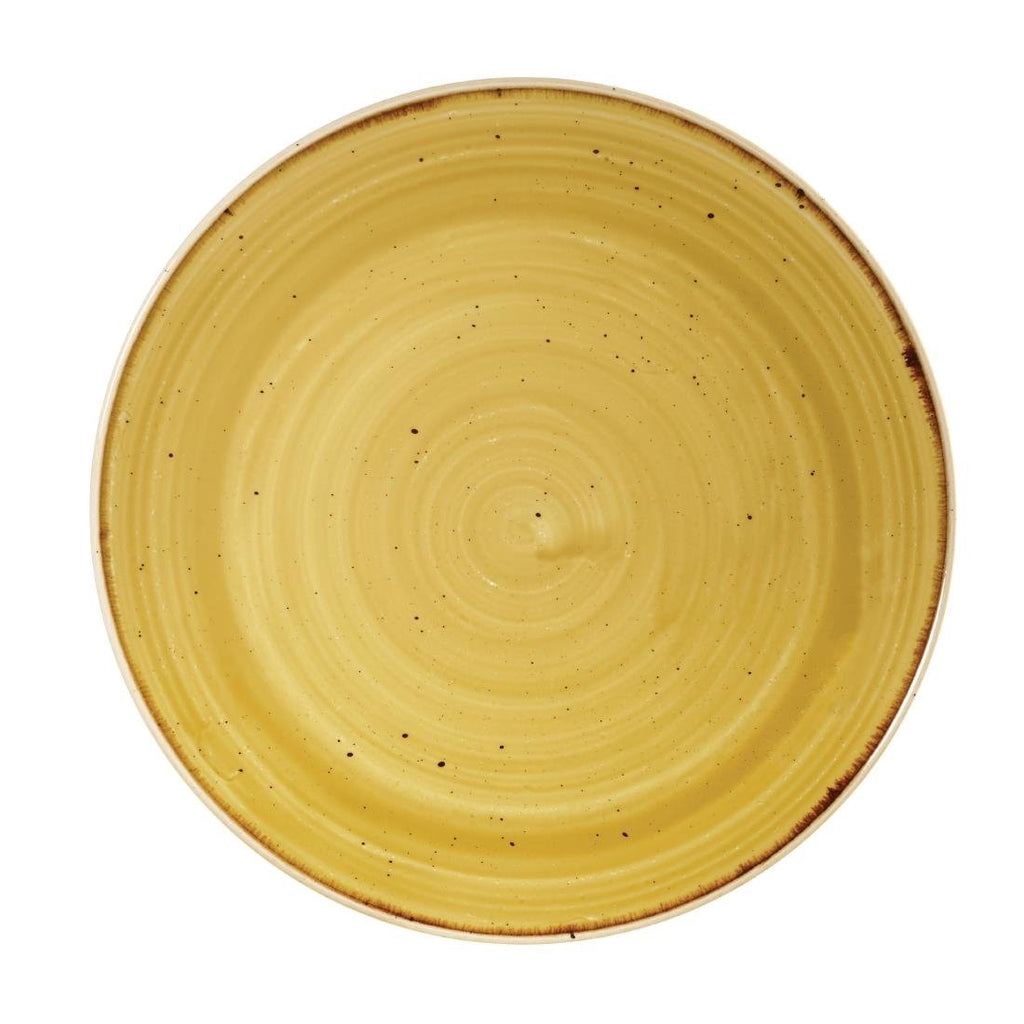 12PCE Churchill Stonecast Round Coupe Plate Mustard Seed Yellow 220mm