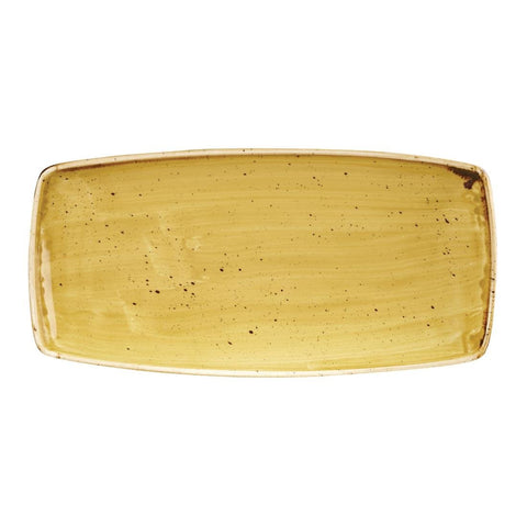 12CPE Churchill Stonecast Rectangular Plate Mustard Seed Yellow 295 x 150mm