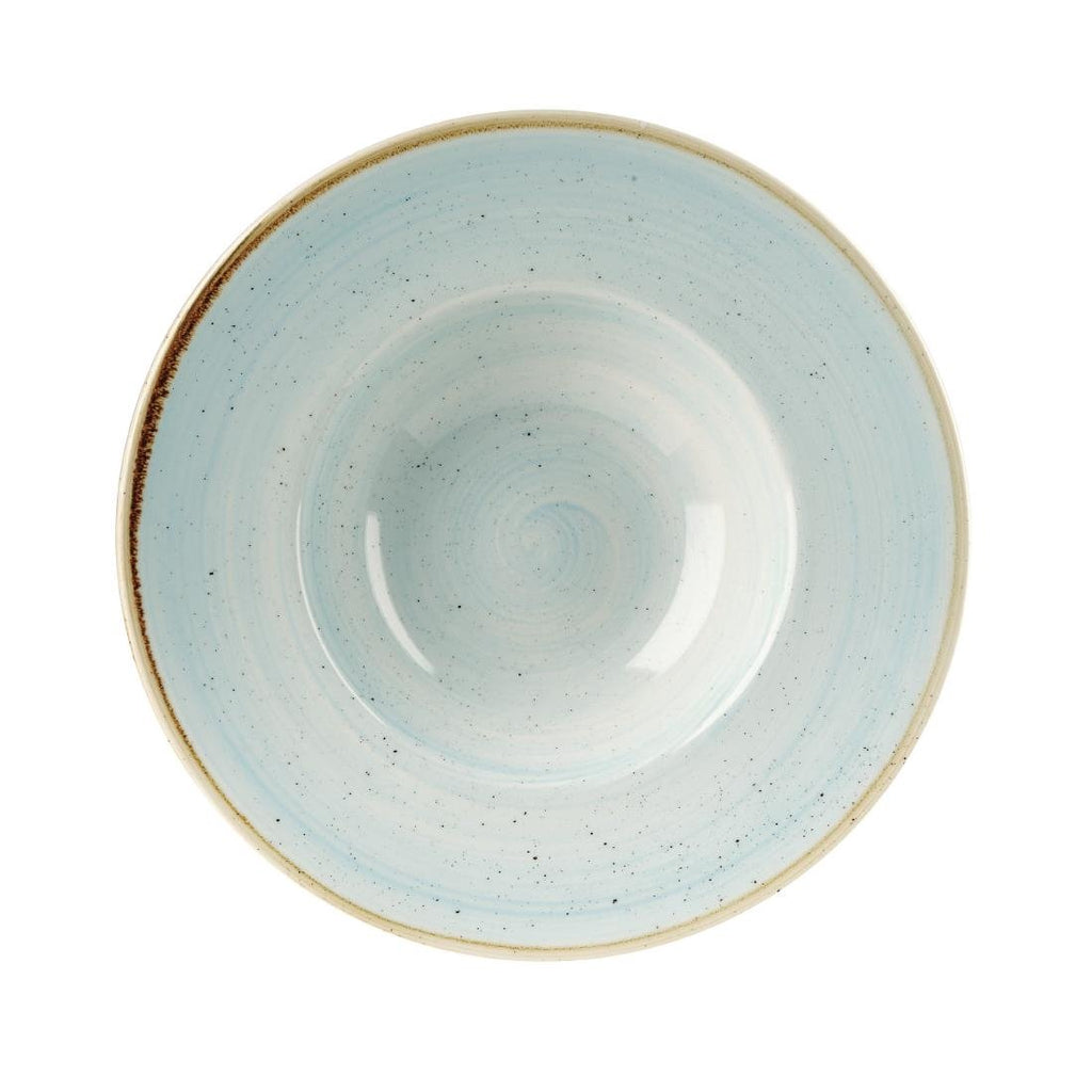 12PCE Churchill Stonecast Round Wide Rim Bowl Duck Egg Blue 240mm