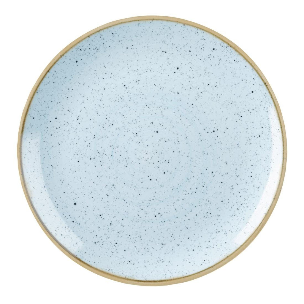 12PCE Churchill Stonecast Round Coupe Plate Duck Egg Blue 185mm