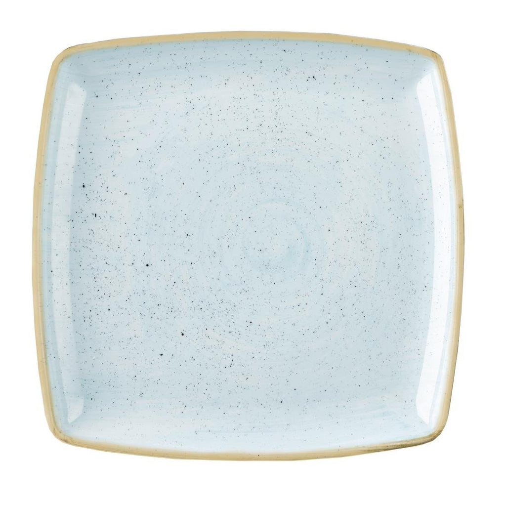 6PCE Churchill Stonecast Deep Square Plate Duck Egg Blue 260mm