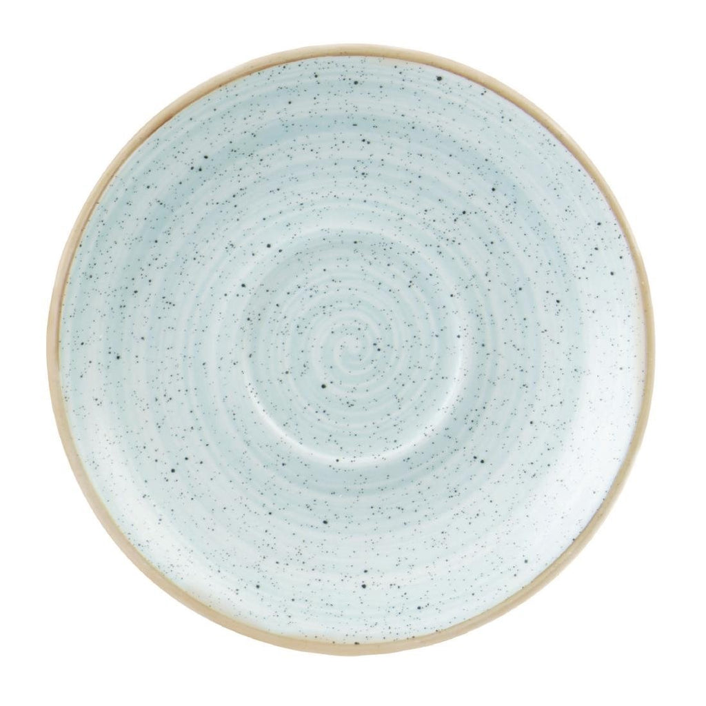 12PCE Churchill Stonecast Round Cappuccino Saucers Duck Egg Blue 185mm